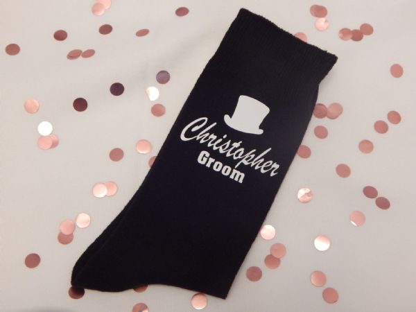 Personalised Wedding Socks - Name, Role And Top Hat
